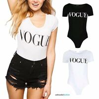 Womens VOGUE Printed Scoop Neck Bodysuit Ladies Short Sleeve Stretch Leotard Top