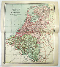 Original 1895 Map of Holland & Belgium