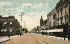 Postcard Ontario St. Thomas Talbot Street looking West 1908 Valentine & Sons