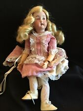 """Antique Bisque Doll, Wood Body, 14"""", Amber Eyes, P. M. 7/0, TLC"""