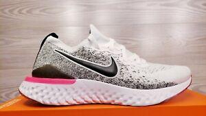 Nike Women's Epic React Flyknit 2 Black White Pink Running BQ8927-103 Pick Size