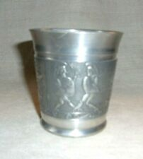 New listing Very Nice Pewter Cup With Sword Fighters Archery Hunters Tb W Angel Mark Glass