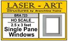 NEW HO Branchline Laser-Art #723 2.5 x 3 ft Single Pane Windows 12 Pc