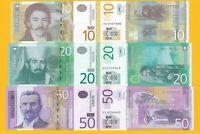 Serbia Set 10, 20, 50 Dinara 2011-2014 UNC Banknotes
