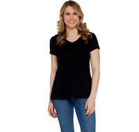 Isaac Mizrahi Live! Essentials Pima Cotton V-Neck T-Shirt Black Color Size XS
