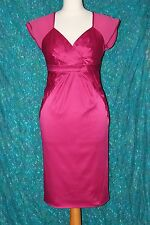 UNTOLD cerise pink satin&silk lightly elasticated ladies fitted dress size 10