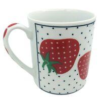 Vintage Takahashi Strawberry Coffee Mug Ceramic Cup Polka Dot San Francisco