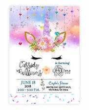 for girls unicorns birthday child greeting cards invitations for