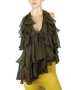 PLEIN SUD Women's Brown Silk Ruffle Layers Top Size 6 Italy