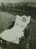 Real Photo Of A Baby In Carriage buggy Chair Vintage Postcard RPPC