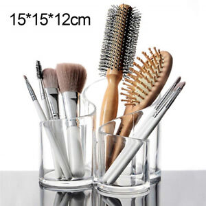 Clear Acrylic 3 Cylindrical Holder Brush Makeup Cosmetic Organizer Stand Box