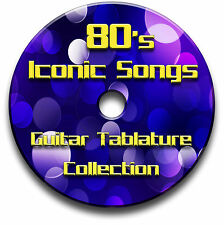 80's 1980s ICONIC POP ROCK GUITAR TABS TABLATURE SONG BOOK SOFTWARE CD