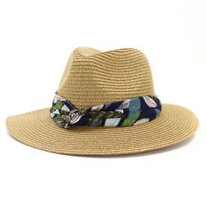 Sun Hat Women Straw Panama Hat Female Print Beach Ladies Fedora Outdoor Trilby