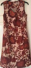 TU Ladies Linen Flower Patterned Dress Sleeveless V Neck Fully Lined Size 12