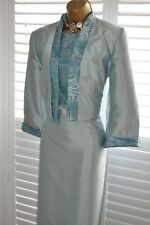 ~ ROMAN ~ Duck Egg Shimmer Dress & Jacket Size 16 Suit Mother of the Bride BNWT