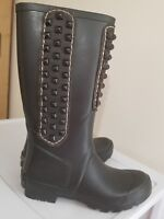 BCBG MaxAzria Military Black Studded Rubber Boots, Rain boots Wellies Size 7