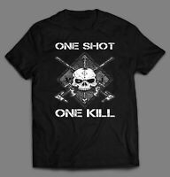 SNIPER ONE SHOT ONE KILL HIGH QUALITY FULL FRONT PRINT SHIRT MANY SIZES & COLORS