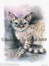 LTD EDITION SI-REX DEVON REX CAT PRINT FROM ORIGINAL PAINTING BY SUZANNE LE GOOD