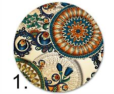 Round sandstone (4) or fabric and rubber coaster (6) set - paisley