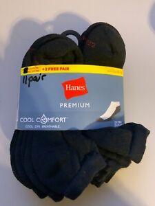 Hanes Premium Cool Comfort Cushioned No Show Socks 11 PK Dry Breathable BLACK