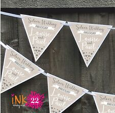 Personalised Silver 25th Wedding Anniversary Party Decoration Banner Bunting