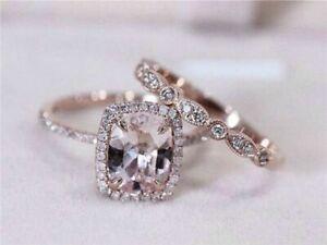 3.50Ct Cushion Cut Peach Morganite Bridal Wedding Ring Set 14k Rose Gold Finish