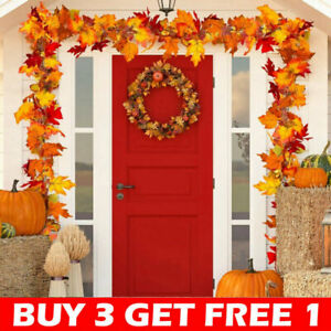 Artificial Autumn Fall Maple Leaves Garland Hanging Plant Halloween Home Decor