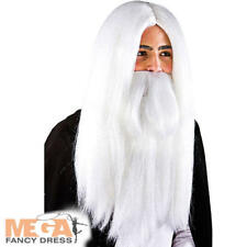White Wizard Wig & Beard Mens Fancy Dress Halloween Christmas Adults Costume Acc