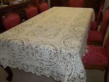"""Antique Ecru Point De Venise 1932 Hand Embroidered Tablecloth 112""""X 60"""""""