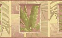 Wallpaper Border Pastel Tropical Palm Leaves and Bamboo Green Mauve Beige