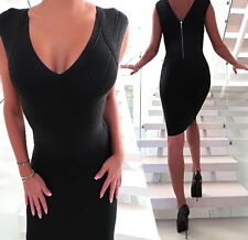 NEU 2018 SCHWARZ Stretch Luxus Damen Kleid Best Sexy Fit ZE1 Women Dress Black M
