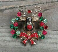 Vintage Gold Tone & Enamel Christmas Red Nose Reindeer Rhinestone Wreath Brooch