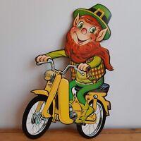 Vintage NOS St. Patrick's Day Decoration Beistle Die Cut Leprechaun Motorcycle