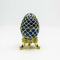 Blau Faberge Ei von Keren Kopal mit oesterreichischen Kristallen vergolde