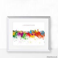 Luxembourg skyline Print Poster Watercolour Framed Canvas Wall Art city Belgium