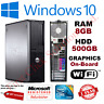 FAST DELL QUAD CORE PC COMPUTER DESKTOP TOWER WINDOWS 10 WI-FI 8GB RAM 500GB HDD