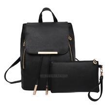 2Pcs Fashion Women Girls PU Leather Backpack Travel School Handbag Clutch Bag