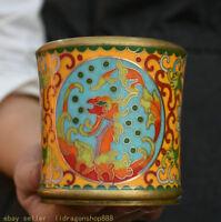 Pot de pinceau à fleurs en cuivre cloisonné de 3,6 po, Chine ancienne