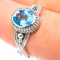 Blue Topaz 925 Sterling Silver Ring Size 8.25 Ana Co Jewelry R52522F