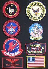 TOP GUN GOOSE NICK BRADSHAW US NAVY NAME TAG FLIGHT JACKET HOOK 8 PATCH SET