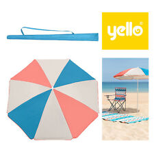 Yello UPF40+ Retro Coloured Panel Camping Picnic Garden Shade Parasol Umbrella