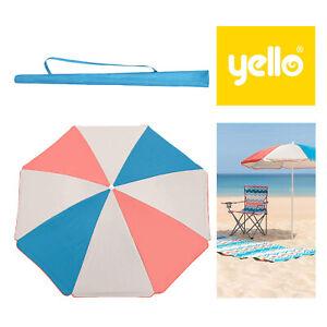 Yello UPF40+ Retro Coloured Panel Camping Picnic Garden Shade Parasol Umbrella
