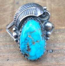 TURQUOISE Sterling Silver NAVAJO Native American BLOSSOM Ring Vintage Size 5.5