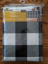 Black White Buffalo Check100% PEVA Vinyl Tablecloth 60 x 102 NEW