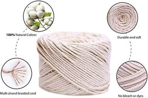 Macrame Cord 3mm x 100m, 328ft Soft Cotton Rope, DIY Crafts Plants Wall Hanging