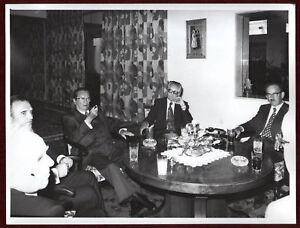 1960s Original Photo Josip Broz Tito Round Table Drinks Cigar Meeting Yugoslavia
