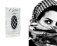 Authentic Keffiyeh Kufiya Shemagh Palestinian Head Scarf Black White 100% Cotton