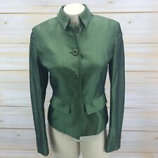 Karen Millen Blazer 8 Emerald Green Raw Silk Blend Peplum Lined Button Up B85