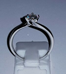 925 STERLING SILVER 18K WHITE GOLD  0.5CT MOISSANITE DIAMOND ENGAGEMENT RING
