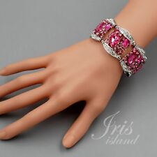 Rhodium Plated Fuchsia Crystal Wedding Bangle Cuff Stretch Bracelet 03726 Prom
